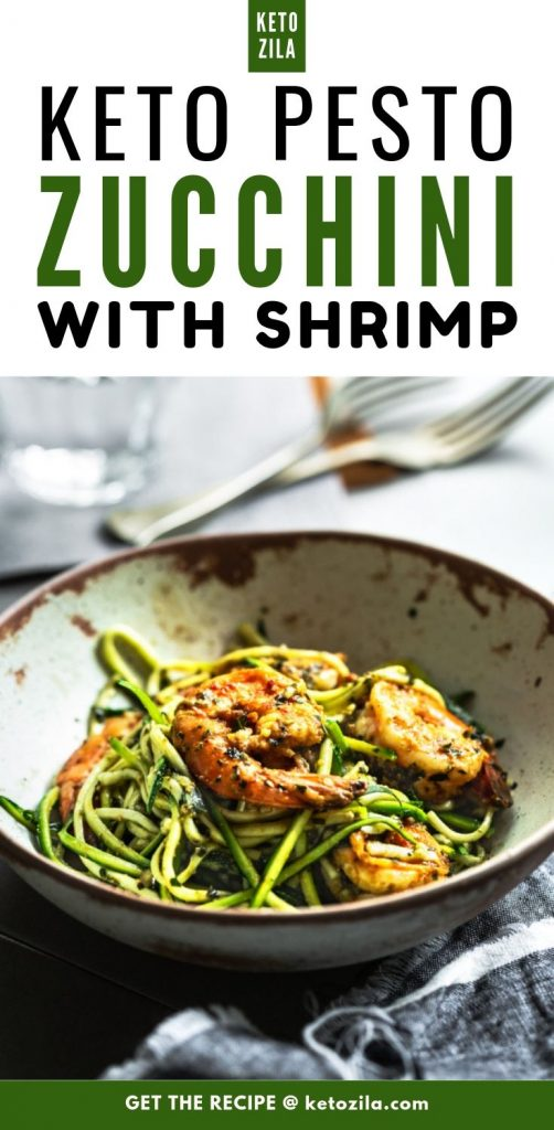 Keto Zucchini Pesto Noodles with Shrimp - A Low Carb Pasta Alternative