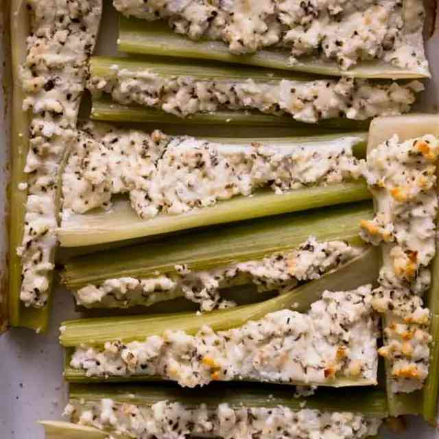 Baked Stuffed Celery & Goat Cheese