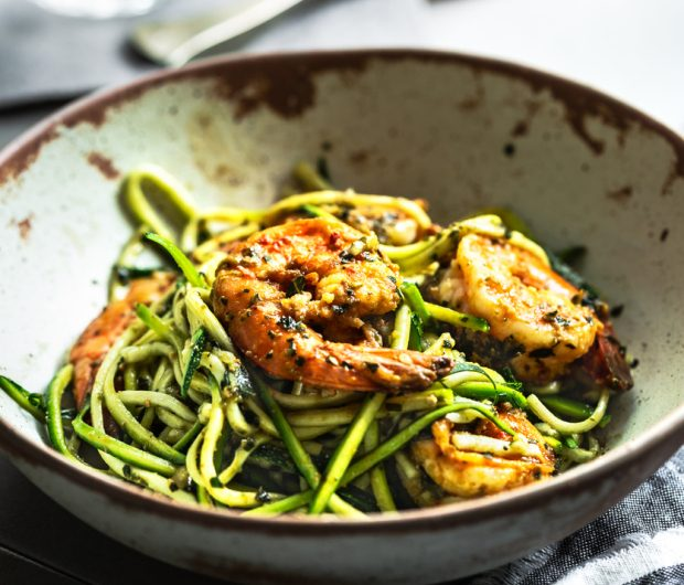 Keto Zucchini Pesto Noodles with Shrimp