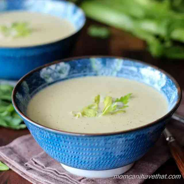 Low Carb Cream of Celery and Fennel Soup with Rotisserie Chicken