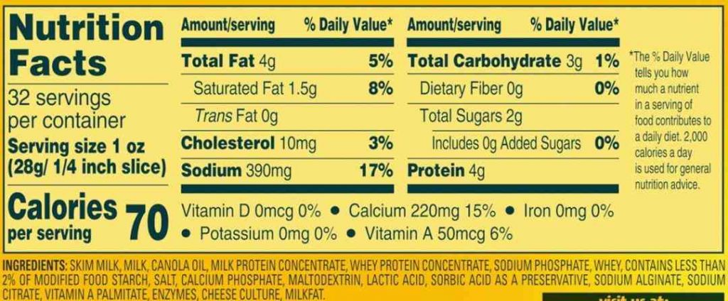 Velveeta Nutrition Facts
